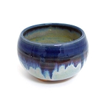 Ceramic Japanese Handthrown Bowl - Blue Rim
