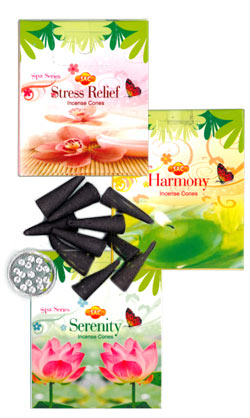 Sandesh (SAC) Spa Series Cone Incense Sampler #2 - Stress Relief, Harmony & Serenity