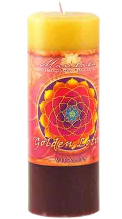 Crystal Journey Mandala Pillar Candle - Vitality - Golden Lotus