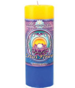 Crystal Journey Mandala Pillar Candle - Renewal - Lotus flower