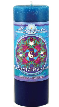 Crystal Journey Mandala Pillar Candle - Well Being - Natural Harmony