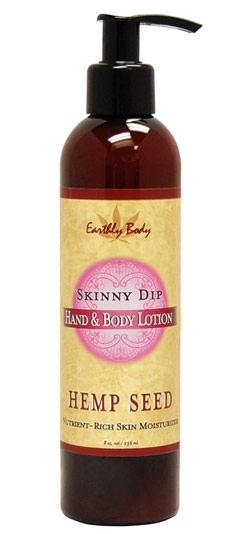 Earthly Body Hemp Seed Hand & Body Lotion - Skinny Dip (Sweet Floral Vanilla) 8 oz.