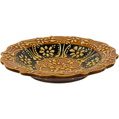Candle Holder - Ceramic Candle Plate (yellow)