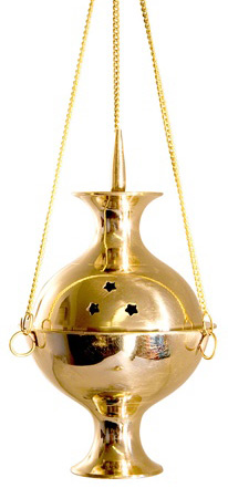 Charcoal Burner - Brass Hanging Incense Censer 8""