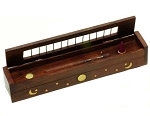 Incense Burner - Wood Box Incense Burner w/Storage