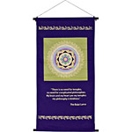 "Sri Yantra Color Print Banner - w/ Dalai Lama Quote - 17.75""x39"""