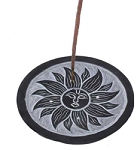Soapstone Incense Burner - Black Sun