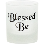 Votive Holder - Etched Glass Blessed Be Black