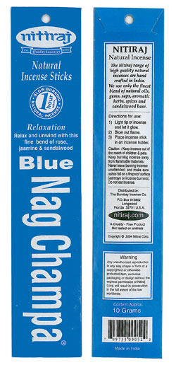 Nitiraj Incense - Blue Nag Champa Incense