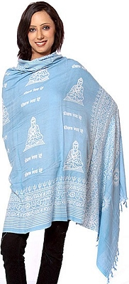 Sky-Blue Buddham Sharanam Gachhami Prayer Shawl