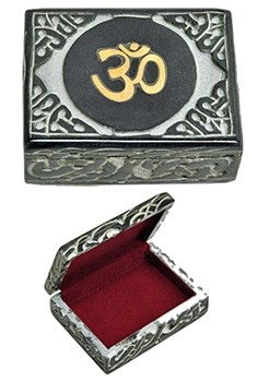 "Beautiful OM Symbol Soapstone Box 4"" x ""3"""