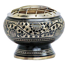 Charcoal Burner - Carved Brass Screen 3""