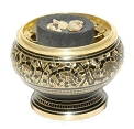 Charcoal Burner - Carved Brass Screen  2.5