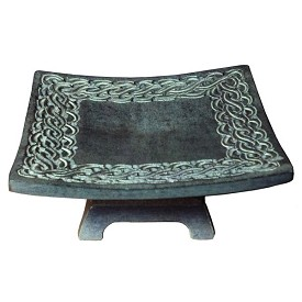 "Candle Holder - Soapstone Pillar Candle Holder - Large (6"")"