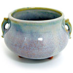 Wisteria Japanese Ceramic Bowl Burner with Censer-Style Handles