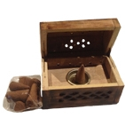 Wooden Cone Incense Box Burner - Brown/Vanilla