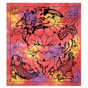 Dragon & Koi Tapestry with Lotus