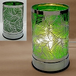 Electric Oil Burner - Stainless Pattern Wrap, Feather Green