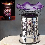 Electric Oil Burner - Stainless Pattern Wrap, Purple