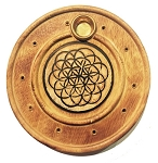 Incense Burner - Round Wooden Incense Burner Flower Of Life