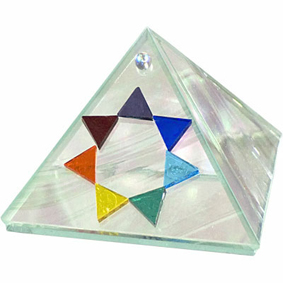 Glass Pyramid Box - Moon Glass - 7 Chakras