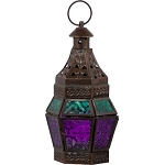 Glass & Metal Tealight Lantern - Turquoise & Purple