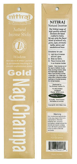 Nitiraj Incense - Gold Nag Champa Incense