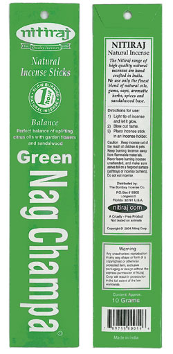 Nitiraj Incense - Green Nag Champa Incense