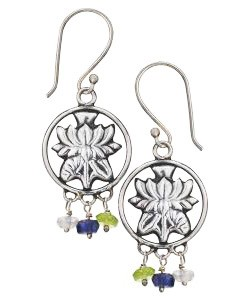 Lotus Charm Earrings w/Peridot, Amethyst and Rose Quartz - Tibet Collection Jewlery