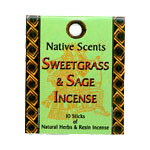 Native Scents Incense - Sweetgrass & Sage Incense