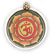 Hand-painted OM Sterling Silver Pendant