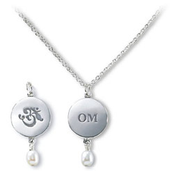 OM Symbol & Tear-Drop Pearl Sterling Silver Necklace