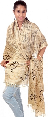 Om Gayatri Mantra Prayer Shawl - Pure Tussar Silk