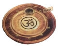 Incense Burner - Round Wooden Incense Burner Om