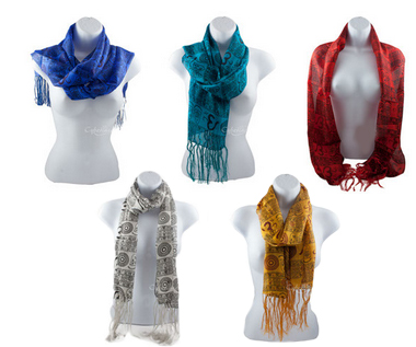 Silk Stole  w/Om Print - Assorted Colors