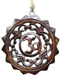 OM Symbol Wood Wall Hanging with Hemp Cord