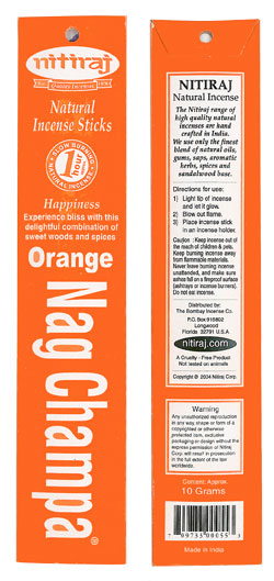 Nitiraj Incense - Orange Nag Champa Incense