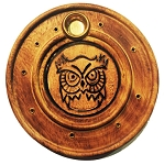 Incense Burner - Round Wooden Incense Burner Owl