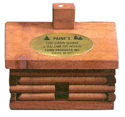 Paines Log Cabin Incense Burner w/10 Balsam Fir Incense Logs