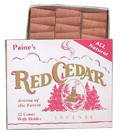Paine's Red Cedar Incense Cones - 32 w/holder
