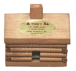 Paines Log cabin Incense Burner w/10 Red Cedar Incense Logs
