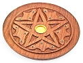 Incense Burner - Round Wooden Incense Burner - Star