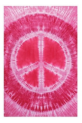 Pink Tie-Dye Peace Sign Tapestry