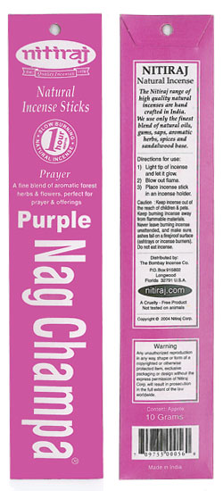Nitiraj Incense - Purple Nag Champa Incense