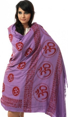 Purple Sanatana Dharma Prayer Shawl with Large Printed Om