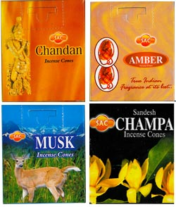 Sandesh (SAC) Indian Cone Incense Sampler #1 - Sandalwood, Amber, Musk & Champa