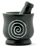 Mortar & Pestle - Spiral Carved Black Stone