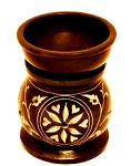 Oil Burner - Floral Black Soapstone
