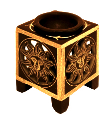 Oil Burner - Soapstone Black Square Sun