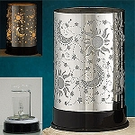 Electric Oil Burner - Stainless Pattern Wrap, Sun/Moon/Stars